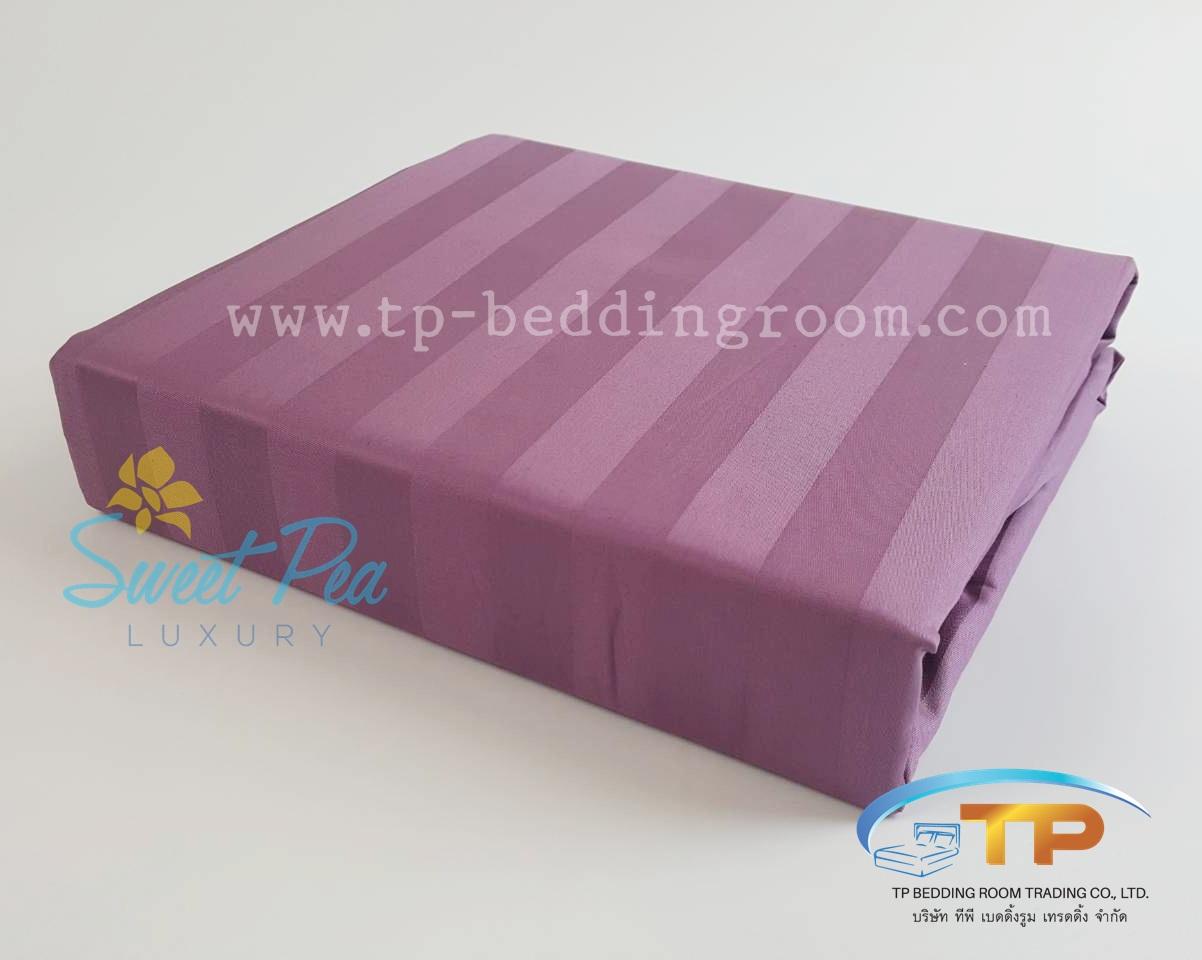 ผ้าปูที่นอนรัดมุม 3.5 ฟุต ลายริ้ว สีม่วง