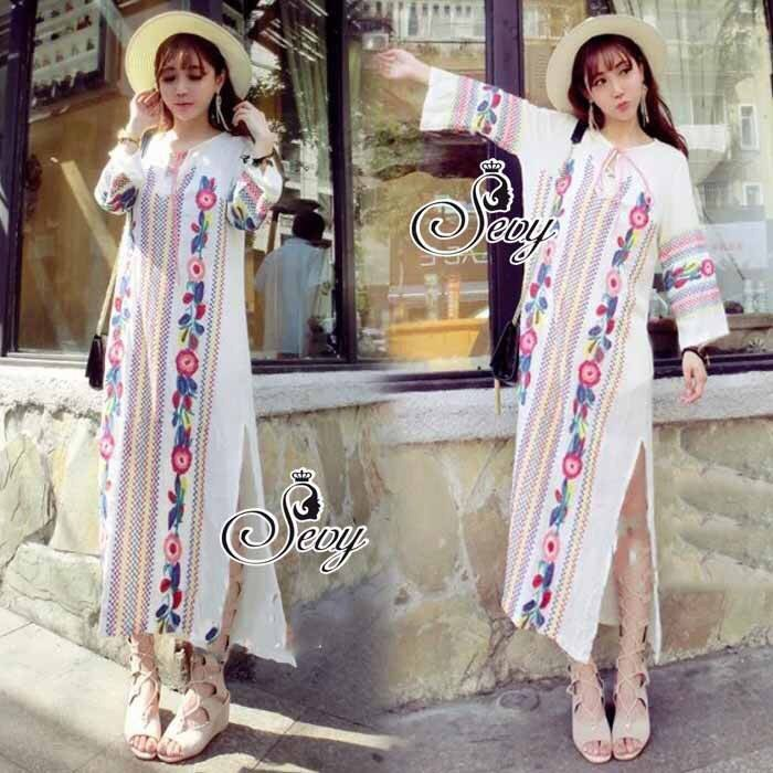 Bohemian Style Embroidered Off Side Leg Long Dress