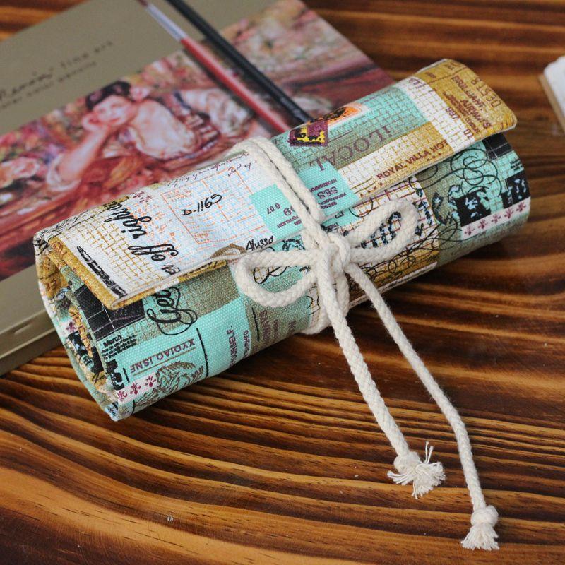 Pencil Wrap กระเป๋าม้วนใส่สีไม้ สูงสุด 72 ช่อง ผ้าแคนวาส ลายวินเทจ