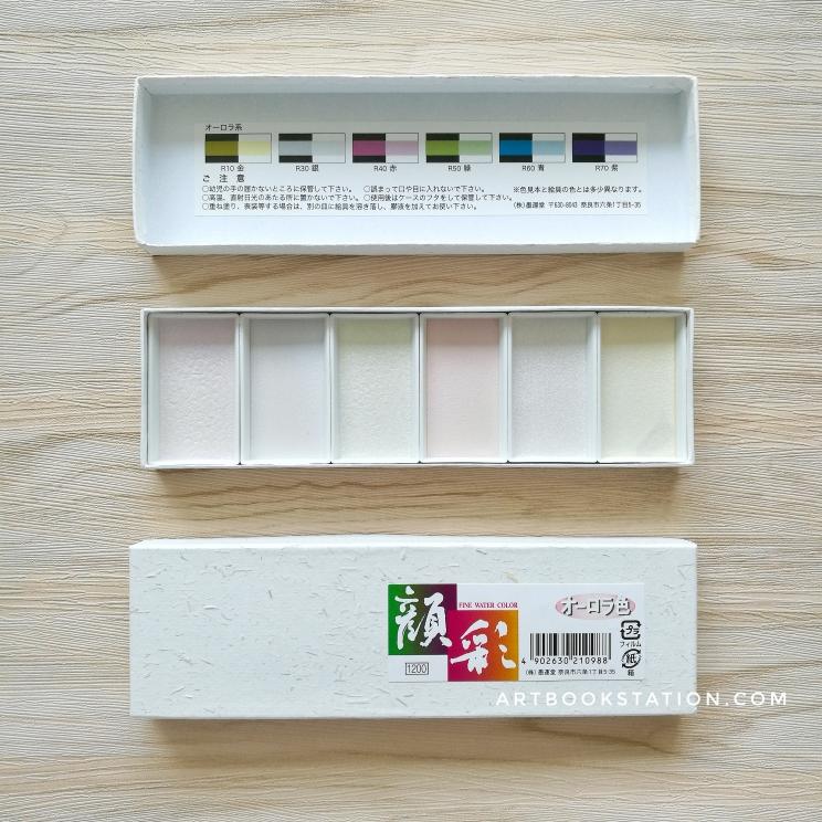 Boku-Undo สีน้ำประกายมุกญี่ปุ่น บรรจุ 6 แพนสีใน 1 กล่อง (โทนสีมุก) (พร้อมส่ง)