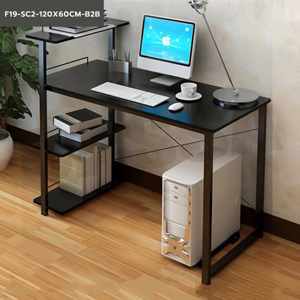 CASSA โต๊ะคอมพิวเตอร์ประหยัดพื้นที่ พร้อมชั้นวางหนังสือและที่วางซีพียู (สีดำ-โครงดำ) ขนาด120X60cm. รุ่น F19-SC2-120X60CM-B2B