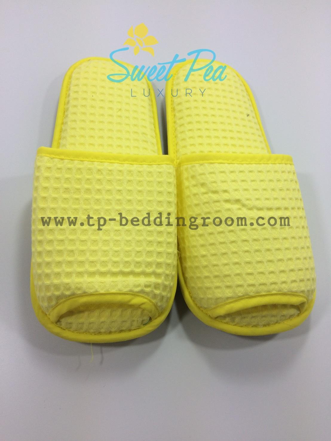 รองเท้า Slipper รังผึ้ง สีเหลือง หัวเปิด (แพ็ค)