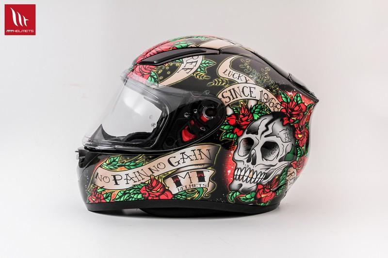 MT Revenge Skull & Roses - Gloss Black / Red