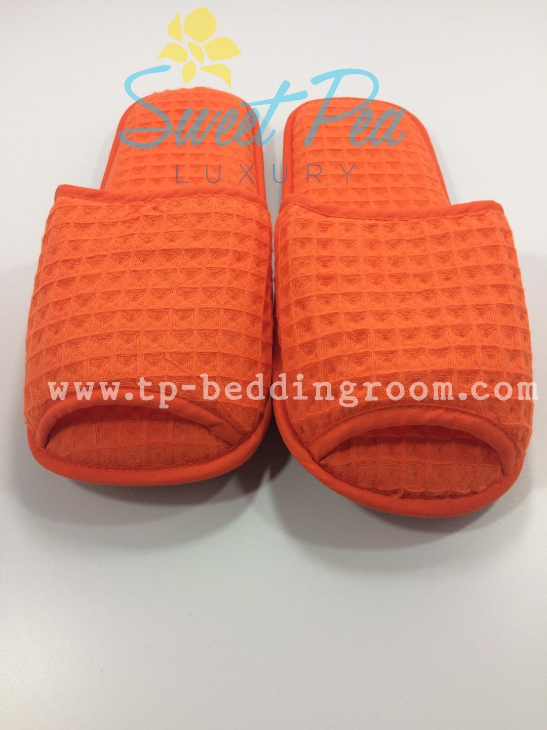 รองเท้า Slipper รังผึ้ง สีส้ม หัวเปิด (แพ็ค)
