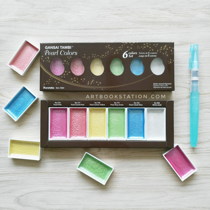 สีน้ำประกายมุกญี่ปุ่น ZIG Kuretake Gansai Tambi Pearl Colors บรรจุ 6 แพนสีใน 1 กล่อง (พร้อมส่ง)