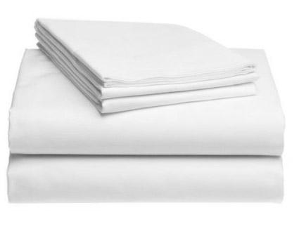 ผ้าปูที่นอนโรงแรม ไม่รัดมุม สีขาวเรียบ 90*110 นิ้ว ( 5 ฟุต)
