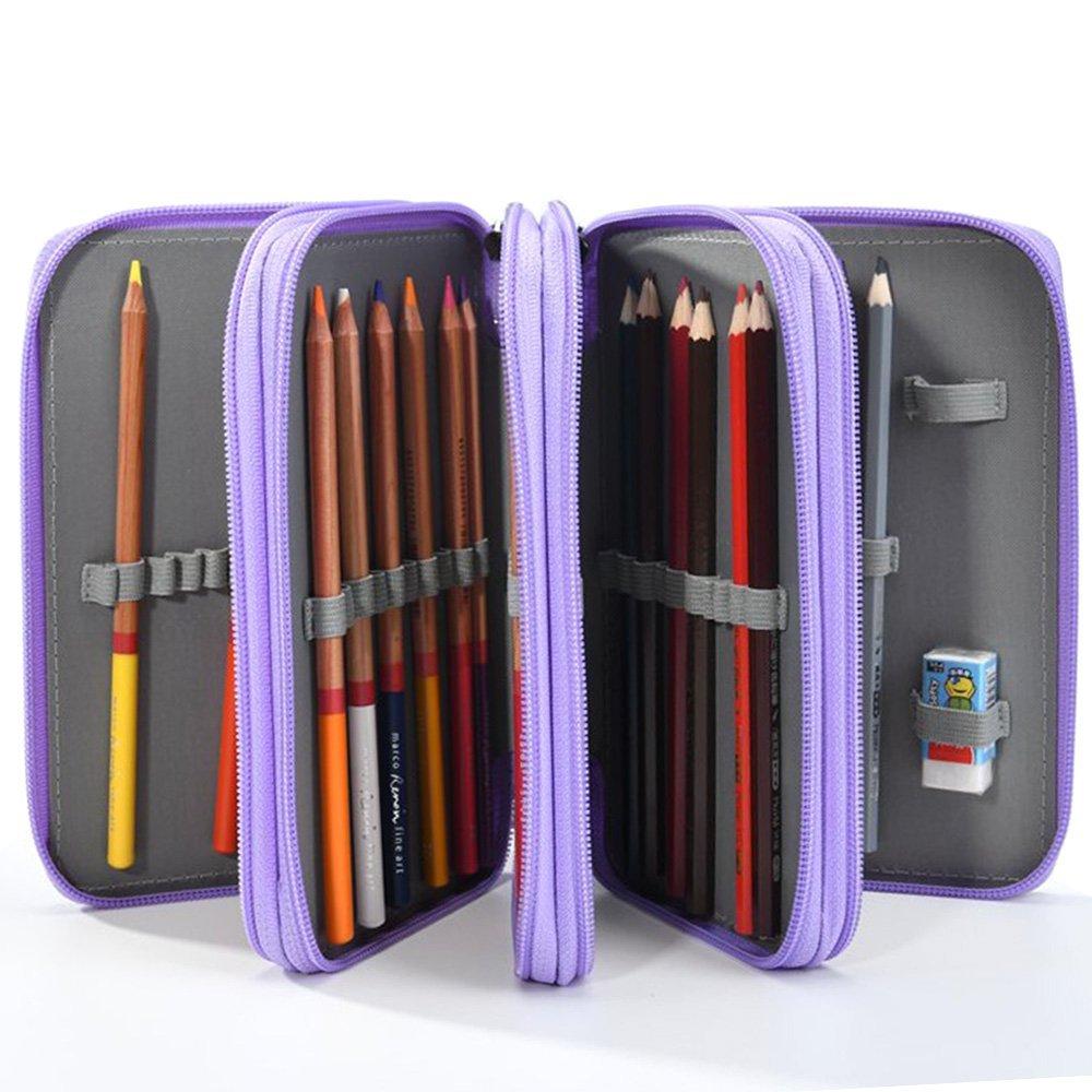 (พร้อมส่ง) กระเป๋าหนังใส่สีไม้ 72 แท่ง-สีม่วงพาสเทล