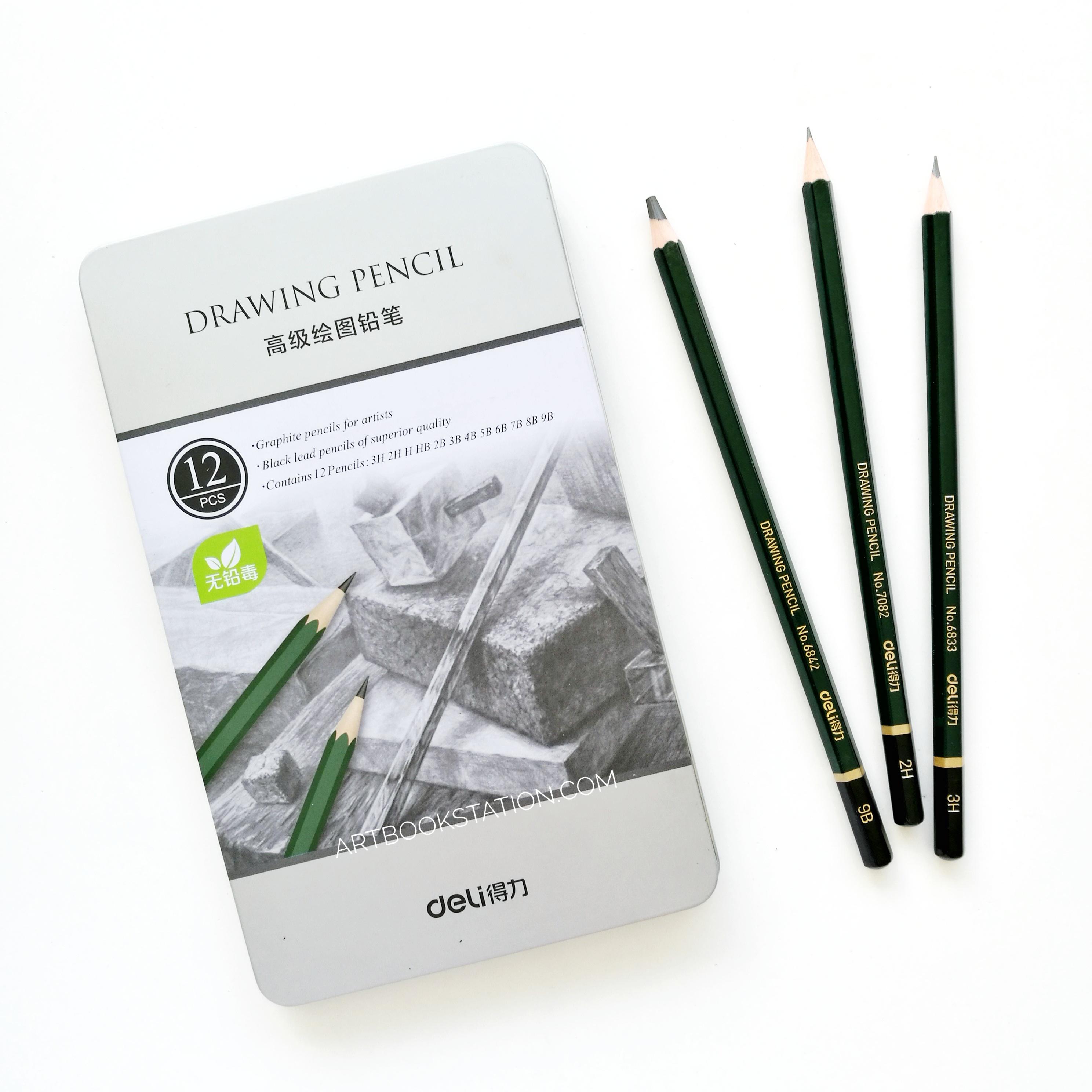 ดินสอ Sketch & Drawing ภาพขาวดำ Set 12 แท่ง 3H-9B กล่องเหล็ก Deli