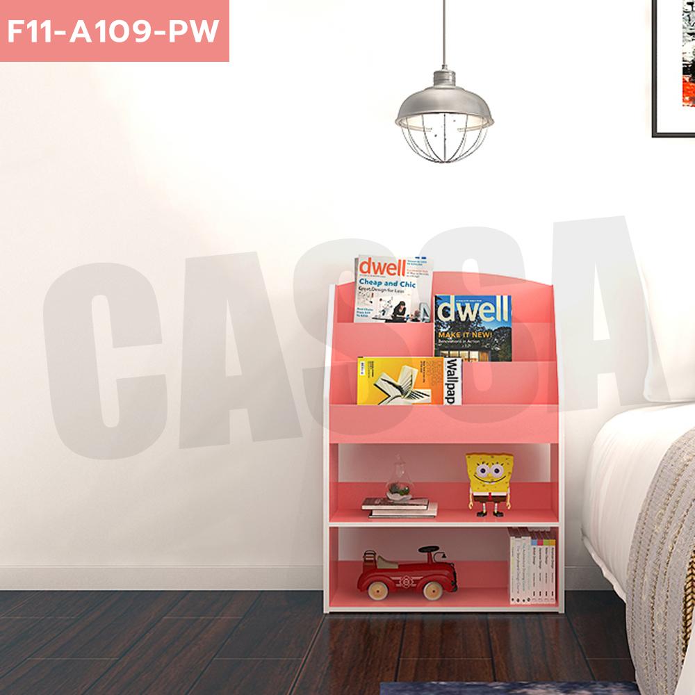 CASSA ชั้นวางหนังสือ ชั้นวางของเล่นเด็ก ชั้นวางอเนกประสงค์ แบบตั้งพื้น สีชมพู รุ่น F11-a109-PW