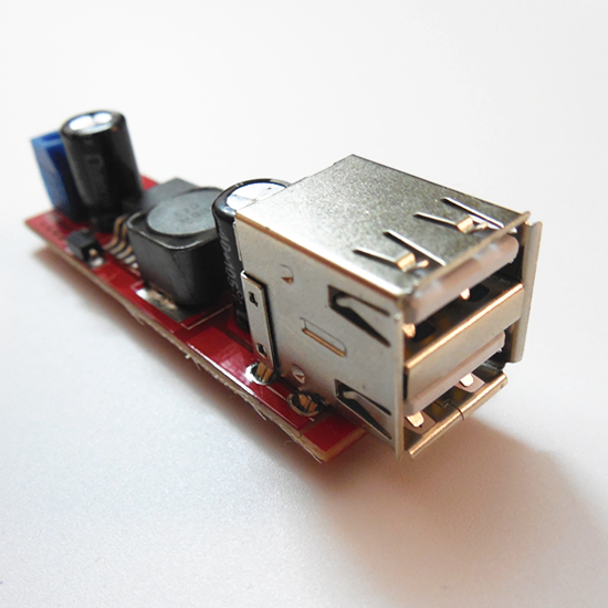 Dual USB output 3A step-down regulator 9V / 12V / 24V / 36V to 5V DC-DC power supply module