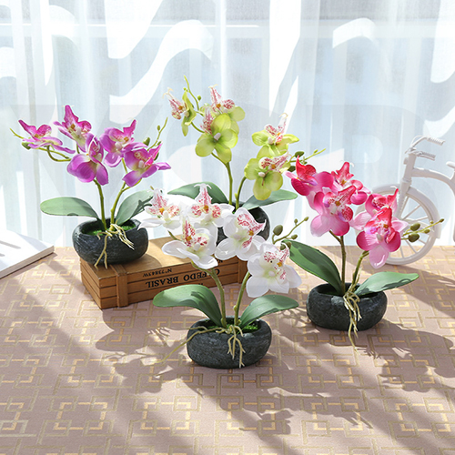 ต้นไม้ปลอม ต้นไม้แต่งบ้าน ดอกไม้พลาสติก ต้นไม้พลาสติก ดอกไม้ประดิษฐ์ (ต้นกล้วยไม้) ขนาด 9.5x8x19 CM.