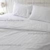 ชุดผ้าปูที่นอนโรงแรมสีขาวลายริ้ว 6 ฟุต ( 5 ชิ้น)
