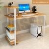 CASSA โต๊ะคอมพิวเตอร์ประหยัดพื้นที่ พร้อมชั้นวางหนังสือและที่วางซีพียู (สีลายไม้-โครงขาว) ขนาด120X60cm. รุ่น F17-SC2-120X60CM-YW
