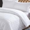 ผ้าปูที่นอนไม่รัดมุม สีขาวลายริ้ว 110*110 นิ้ว