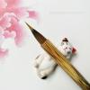 พู่กันจีน ขนกระรอกและขนสัตว์ผสม สำหรับระบายสีน้ำ ด้ามลายไม้สวยหรู พู่ใหญ่ปลายแหลม