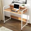 โต๊ะอเนกประสงค์ โต๊ะคอมพิวเตอร์ โต๊ะอ่านหนังสือ พร้อมราวกั้น ทั้ง2ด้าน ยาว104cm (สีขาว-ลายไม้) รุ่น 234-B281-104X50X88RW