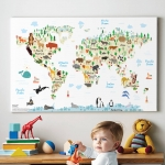 กรอบลอยแคนวาส Animal map of the world 24 x 16 นิ้ว