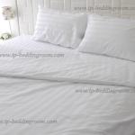 ชุดผ้าปูที่นอนโรงแรมสีขาวลายริ้ว 6 ฟุต ( 7 ชิ้น)