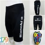 กางเกงปั่นจักรยานขาสั้น Bianchi สีดำขาว