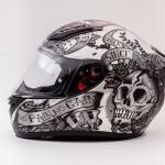 MT Revenge Skull & Roses - Matt Grey / Black