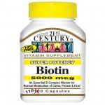 21st Century, Biotin, Super Potency, 5000 mcg, 110 แคปซูล