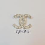 เข็มกลัด ชาแนล (CC Chanel) ฝังเพชร สีเงิน เรียบหรู งานทางร้านทำเองคะ