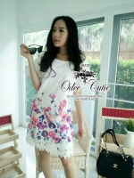 Vivid charm blooming lace mini dress