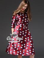 Charming silk printing dress
