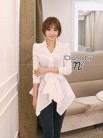 Jess Korean V Collar Dress Shirt