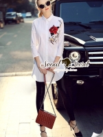 Red Rosy Embroider Chic Shirt